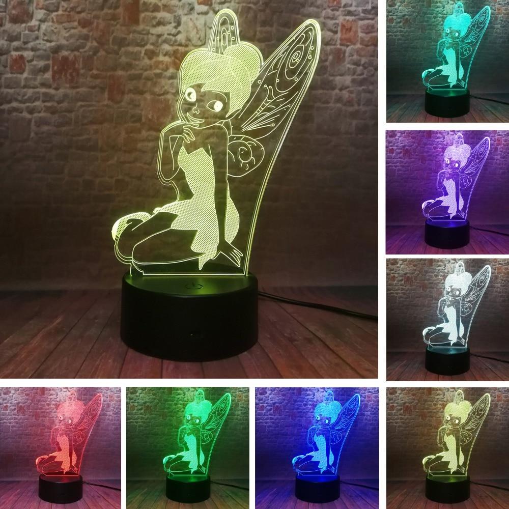 Amroe Rare Peter Pan Fairy Elf Tinker Miss Bell 3D Snowflake Tinkerbell Princess 7 Color Change Girls Sleeping Night Light Decor