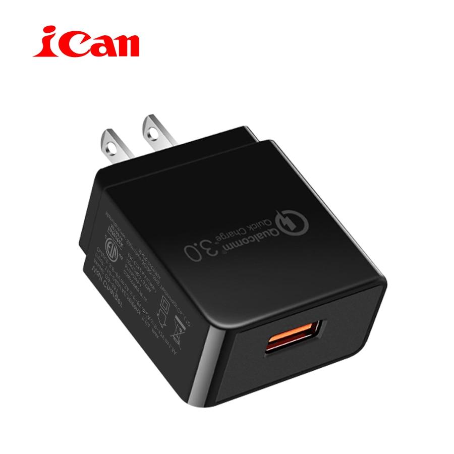 ICan Universal US Plug Charge Rapide QC3.0 18 W Rapide Mobile Téléphone USB Chargeur (QC 2.0 Compatible) Adaptateur pour Samsung Huawei Xiaomi
