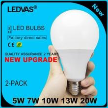 LEDVAS 2-Pack LED Bulb 220V 240V E27 LED Lamp A60 Bulbs Spotlight SMD5730 lampada led lamparas 5W 7W 10W 13W 20W Warm Cold white
