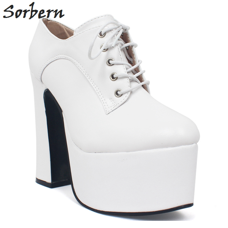 Off White Shoes Women High Heels Pump Shoe Laces Up Thick Platform Heels Custom Colors Ladies Wedding Shoes Bride FootwearOff White Shoes Women High Heels Pump Shoe Laces Up Thick Platform Heels Custom Colors Ladies Wedding Shoes Bride Footwear