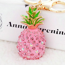 Creative Novelty Llaveros Keychains 3D Resin Pineapple Rhinestone Pendant Keyring Charm Trinket For Women