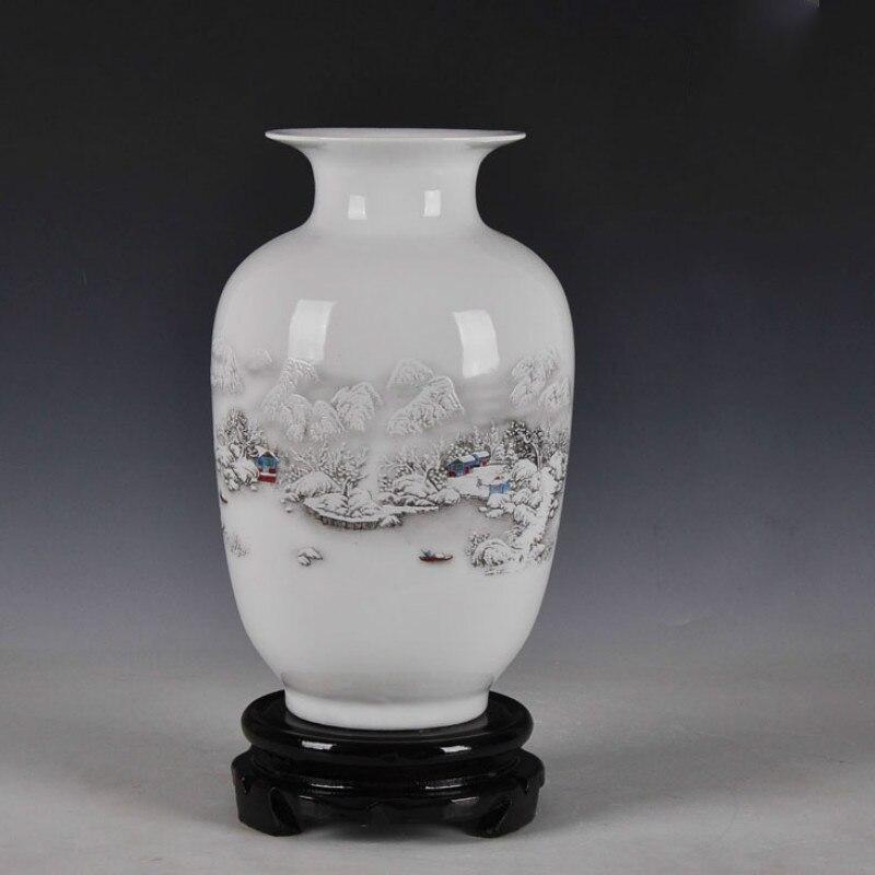 Chinese Style Ancient Snow Scenery White Ceramic Flower Vase Fashion Home Decoration Jingdezhen Porcelain Vases vase