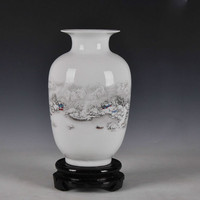 Chinese Style Ancient Snow Scenery White Ceramic Flower Vase Fashion Home Decoration Jingdezhen Porcelain Vases