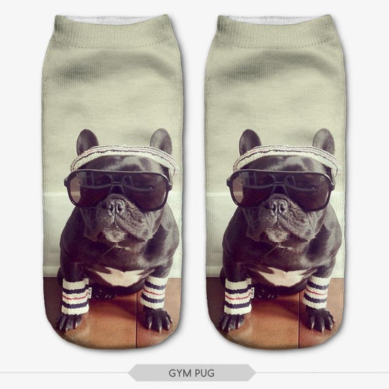 Mens athletic low cut Ankle sock pink French Bulldog floral1 Short Breathable Sock