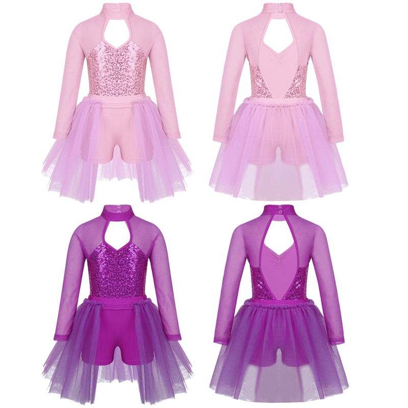 Image 3 - Kids Teens Sequins Stage Performance Lyrical Dance Costumes Children Girls Figure Skating Ballet Tutu Leotard Mesh DressBallet   -
