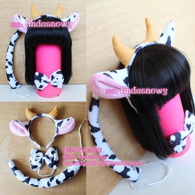 Cos props animal piece set hair accessory headband hair bands ear dairy cow