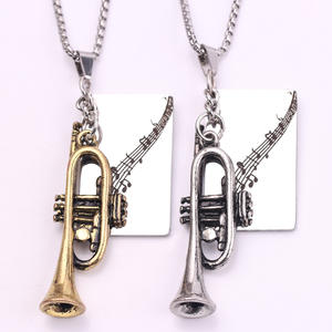 Pendant Necklaces Trumpet Music-Symbol Metal-Piece Jewelry Charm Gift Custom Engrave