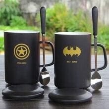Oussirro Творческий Мстители, Лига Справедливости Керамика кружка с крышкой с ложкой Superman Spiderman Batman Высокое качество Кубок хороший подарок