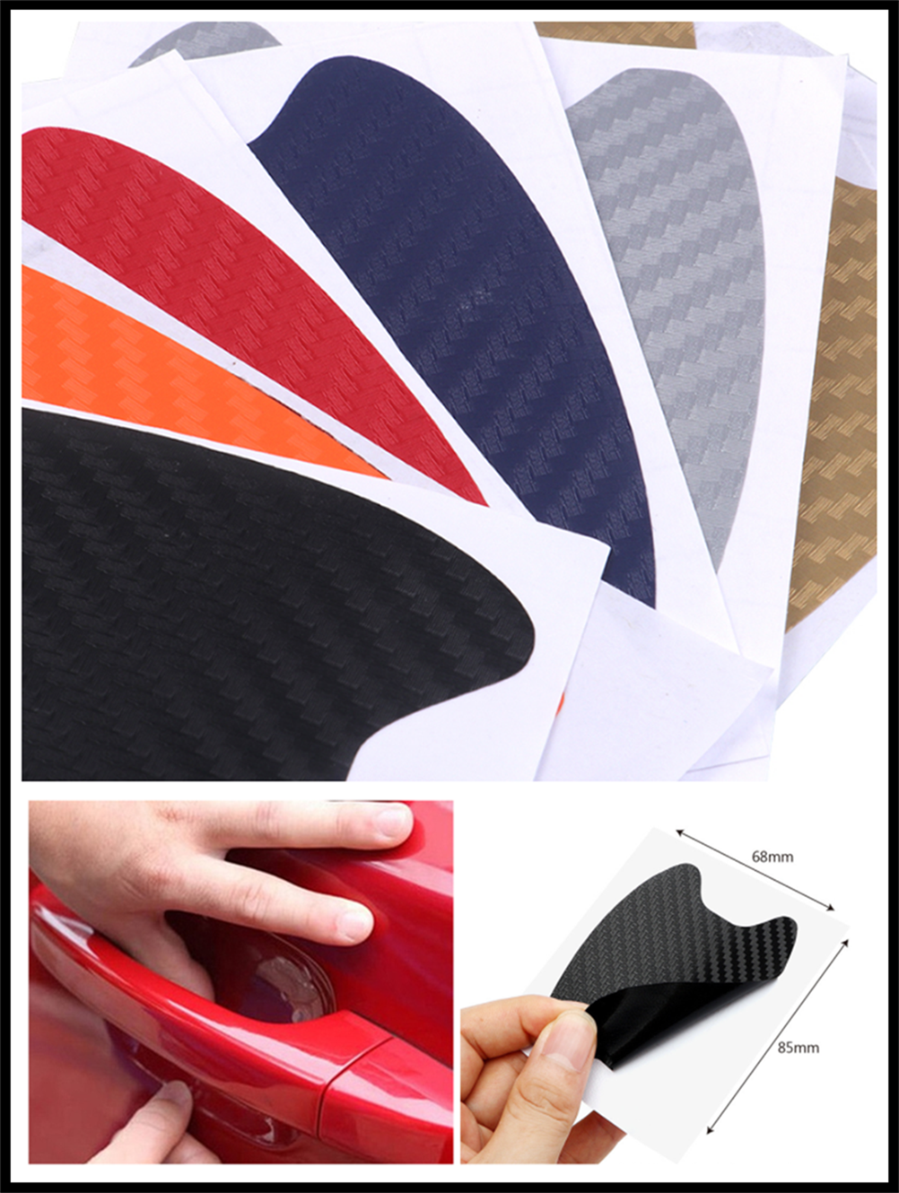 4pcs car accessories 3D carbon fiber <font><b>door</b></font> <font><b>handle</b></font> wrist scratch stickers for <font><b>Ford</b></font> <font><b>Focus</b></font> MK2 MK3 MK4 kuga Escape Fiesta Ecosport image
