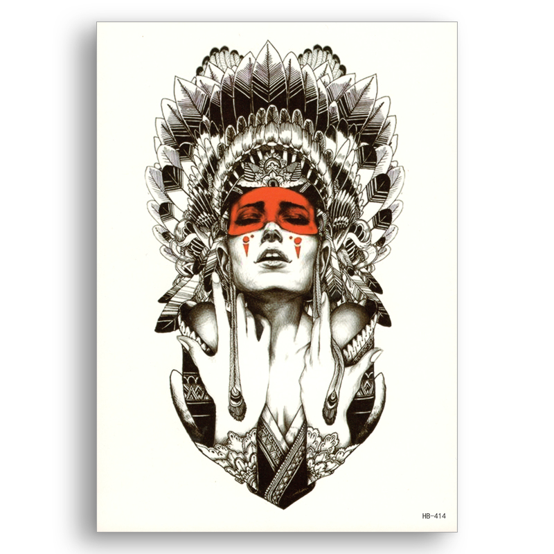 Waterproof Temporary Sticker Disposable Water Transfer Fake Tattoos Ancient Indian Chief Girl Warrior Women Body Art Flower Arm