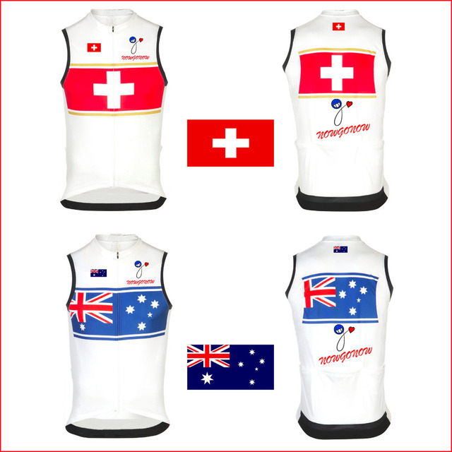 3646ec07dc7 2015 cycling jersey clothing sleeveless wear Australia Switzerland swiss  National flag team nowgonow sleeveless bike bicycle