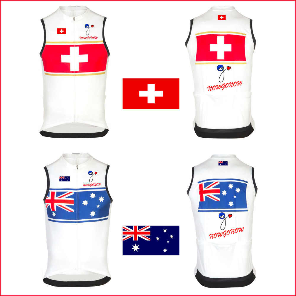 newest 9492c e106e 2015 cycling jersey clothing sleeveless wear Australia Switzerland swiss  National flag team nowgonow sleeveless bike bicycle