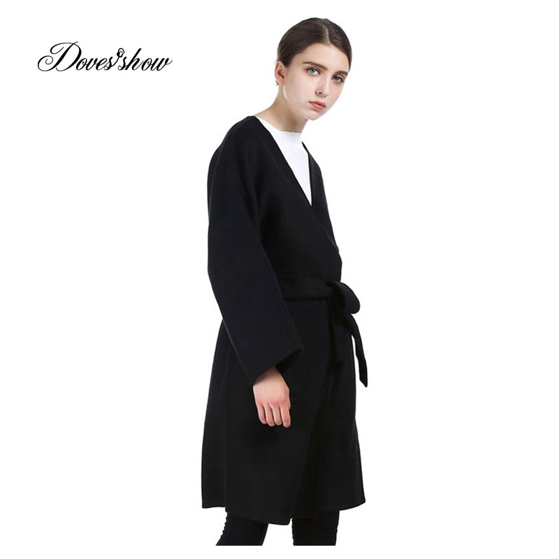 Women Black Long Cashmere Coat 2017 New Woolen Coat Women Winter - Women's Clothing
