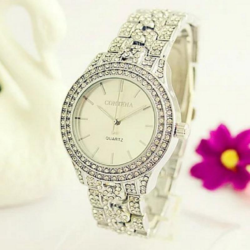 Contena Top Brand Silver Luxury Women Dress Watch Rhinestone Ceramic Crystal Quartz Watches Magic Women Wrist