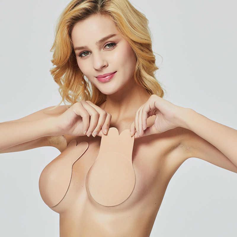 2ca68931ad4 1 Pair Women Self Adhesive Push Up Bra Silicone Nipple Cover Stickers Women  Underwear Invisible Bra