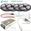 5M 10M 15M 20M RGB LED Strip light 5050 SMD Flexible Lamp DC 12V 60Led/m +Mini Led Controller+Power Adapter Supply Kit