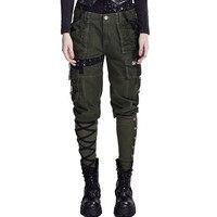 Военные Стиль черный спецодежды мульти карман брюки панк Для женщин зимние Повседневное Капри рок свободные льняные широкие брюки на шнуро