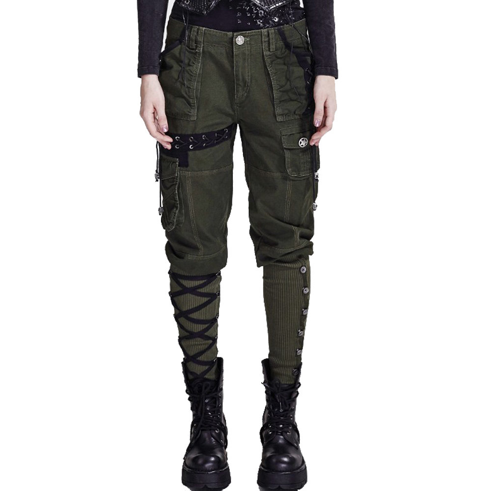Military Style Black Workwear Multi Pocket   Pants   Punk Women Winter Casual   Capri     Pants   Rock Loose Linen Wide Leg Lace-Up Trousers