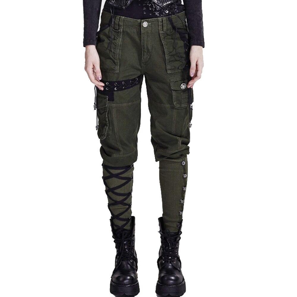 Style militaire Noir Vêtements De Travail Pantalon À Poches Multiples Punk Femmes Hiver Casual Pantalon Capri de Roche En Vrac Lin Jambes Larges Lacets le Pantalon
