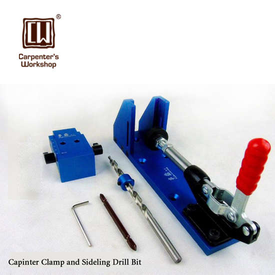 Woodworking Tool Pocket Hole Jig Woodwork Guide Repair Carpenter Kit System With Toggle Clamp and Step Drilling Bit(Kreg Type) pocket hole jig woodworking repair kit carpenter system guide with toggle clamp 9 5mm and 3 8 inch step drill bit