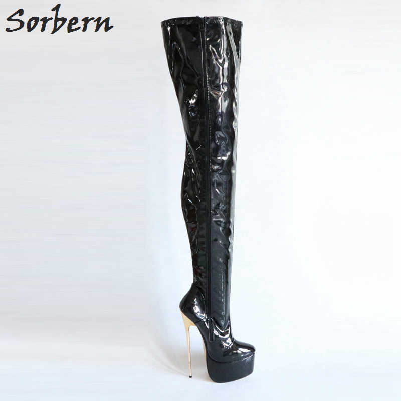 promo code c7049 8b6c6 Sorbern 22Cm Ultra High Heel Metals Boots Over The Knee High Custom Colors  Black Thigh High Boots Crotch High Boots Ladies Shoes