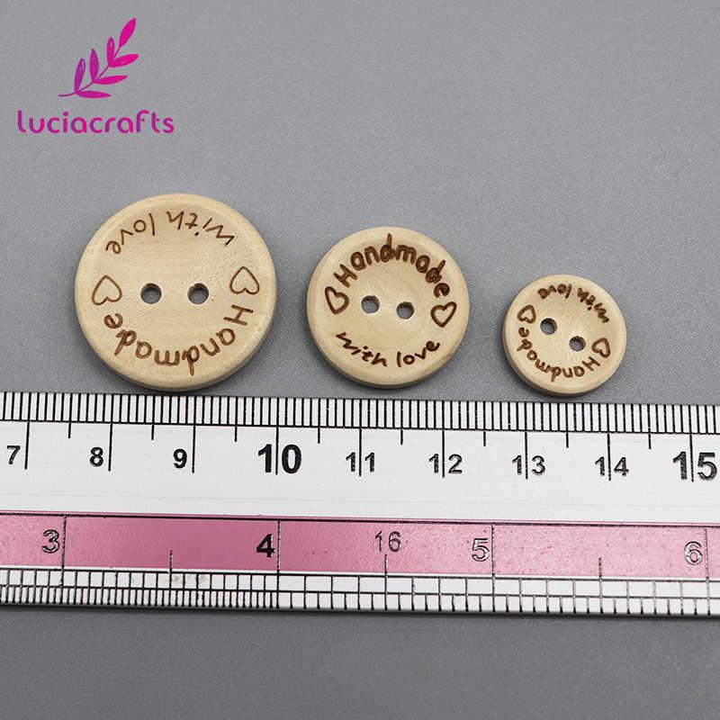 Lucia หัตถกรรม 2 หลุม Handmade with Love รอบไม้ปุ่มสมุดภาพตัดเย็บ DIY ธรรมชาติปุ่มอุปกรณ์เสริม E0110