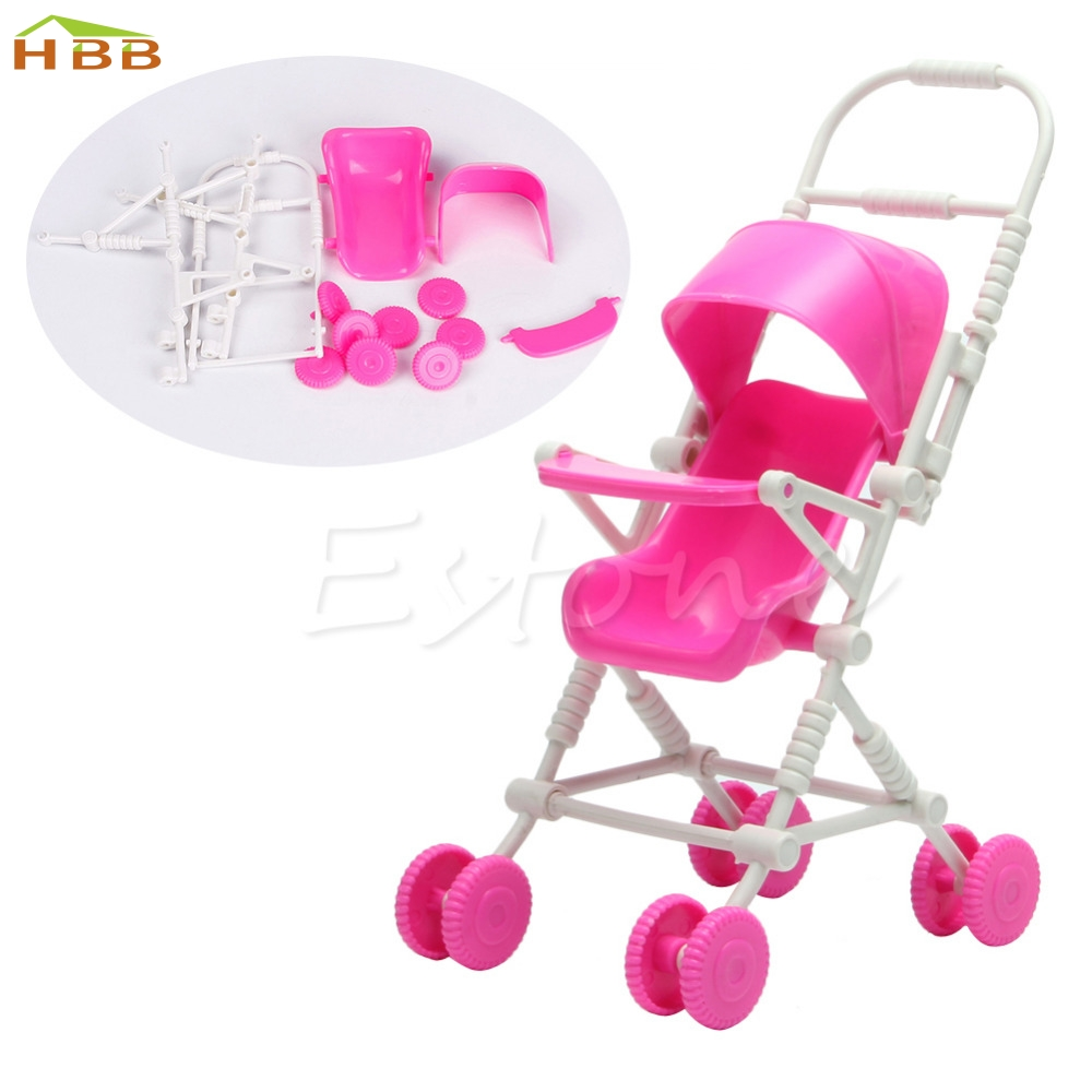 1pc Top Brand Assembly Baby Stroller Trolley Nursery Furniture Toys For Doll Pink High Quality #046
