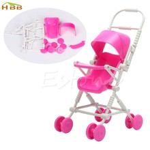 1pc Top Brand Assembly Baby Stroller Trolley Nursery Furniture Toys For Doll Pink High Quality #046(China)