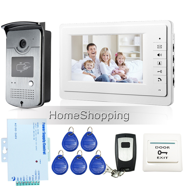 FREE SHIPPING New 7 inch Color Screen Video Door Phone Doorbell Intercom System 1 RFID Access Camera 1 White Monitor In Stock