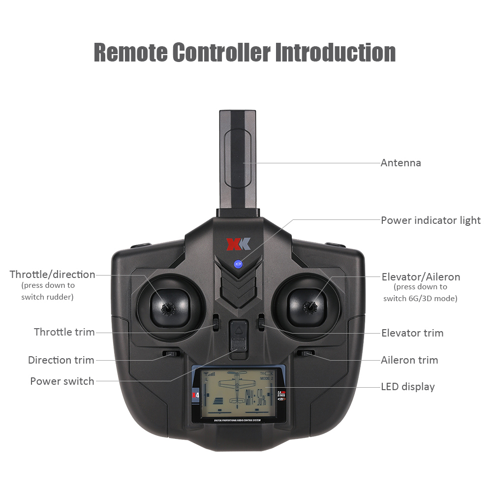 (In stock) XK X4 Transmitter for XK A600 A430 X520 RC Airplane Spare Parts remote controller original xk dhc 2 a600 2 4ghz 6ch transmitter for xk a600 a700 a430 rc airplane drone