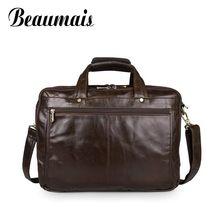 Beaumais Business Cowhide Real Genuine Leather Bag Men Briefcase Multi Pockets Men Messenger Bags Laptop Shoulder Bags BG520