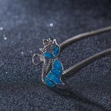Cat White Fire Opal Charm Pendant Necklace