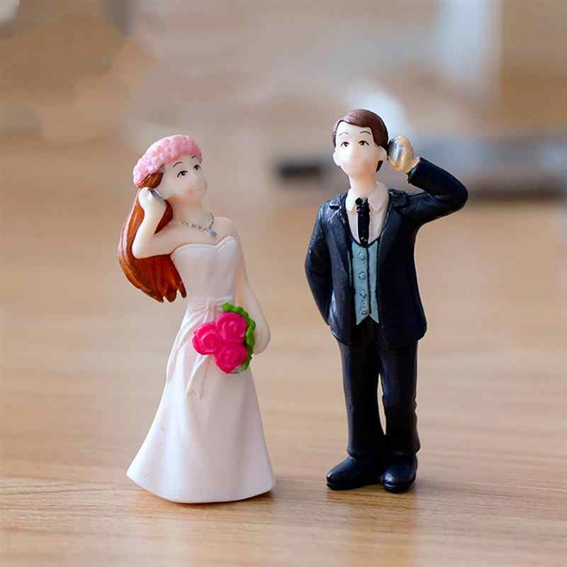 Telephone Couple Figurines Miniatures Fairy Garden Ornament Home Wedding Decoration Terrariums Resin Crafts Toy