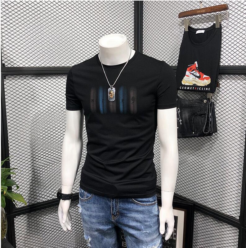 2019 new PQ1915 Summer T-shirt Print Cotton T shirt Men Trend Casual Short sleeve Tshirt Summer T-shirt