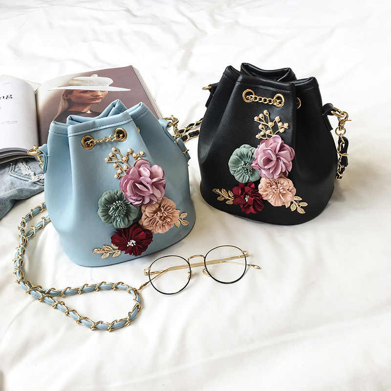 New Women's Bag Korean Fashion Solid Color Bucket Bag Flower Small Fresh Shoulder Slung Clip Small Bag 730