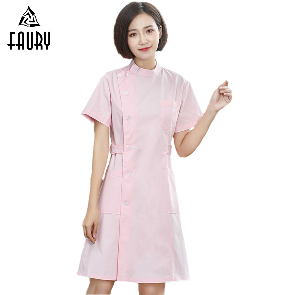 Women Nurse Doctor Medical Uniforms Short Sleeve Round Neck Coat  Lab Hospital Doctor Work Wear S-XXXL Uurse Jacket Dress