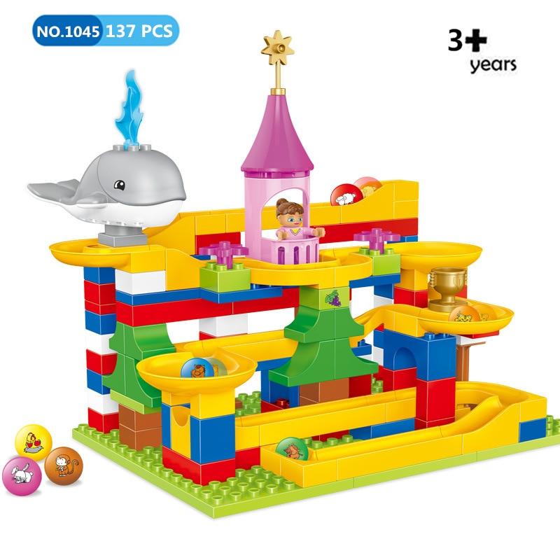 137 pièces grande taille bricolage marbre course labyrinthe balles blocs de roulement enfants jouet Compatible avec L marque Duploed briques jouets pour enfants
