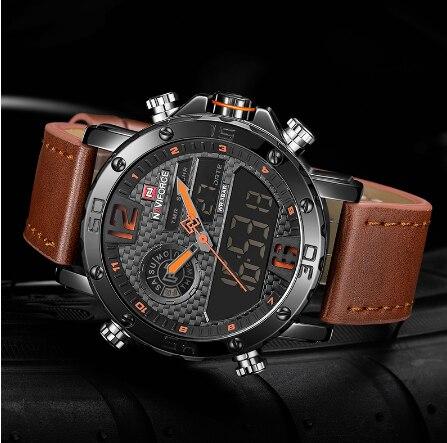 NAVIFORCE Роскошные брендовые кожаные мужские спортивные часы военные мужские кварцевые наручные часы светодиодный цифровые часы водонепрони... - 2