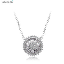 LUOTEEMI Design High Quality Luxury White Gold Color Micro pave Lady Bid Round Pendant Necklace for