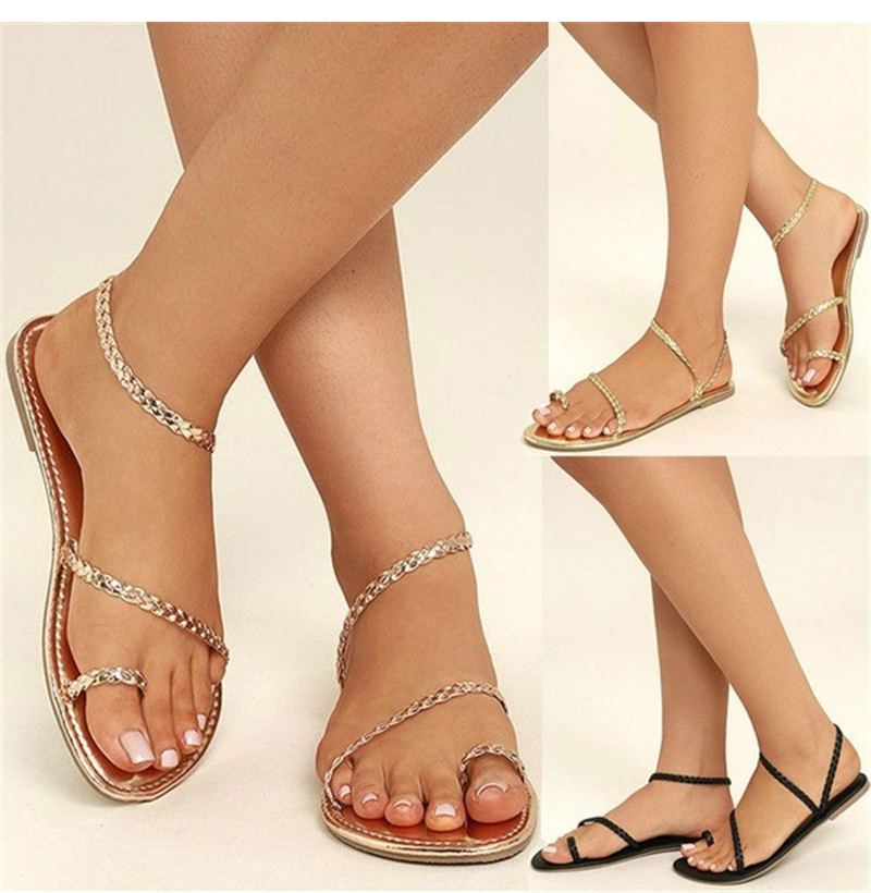 6350a81854 2019 sandalen frauen flip flops casual strand schuhe flache schuhe  weibliche sandale sommer low heels rom stil band freizeit plus größe