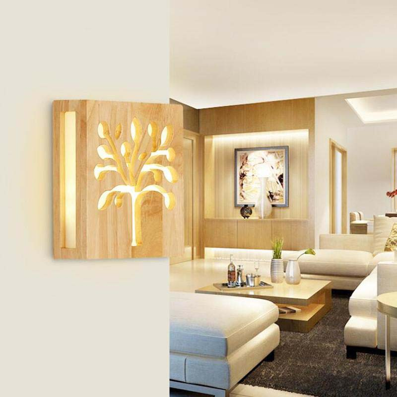 Modern LED wall lamp wooden Acrylic plate tree shape wall ... on Wall Lighting For Living Room id=54445