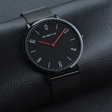 Fashion Japan Quartz Black Luxury Ultra Thin Man Business Watch Red Hand Woman Leather Magnet Mesh Stainless Steel Waterproof japan quartz luxury black dial watch women rose gold roman mesh ultra thin stainless steel magnet band waterproof antibrittle