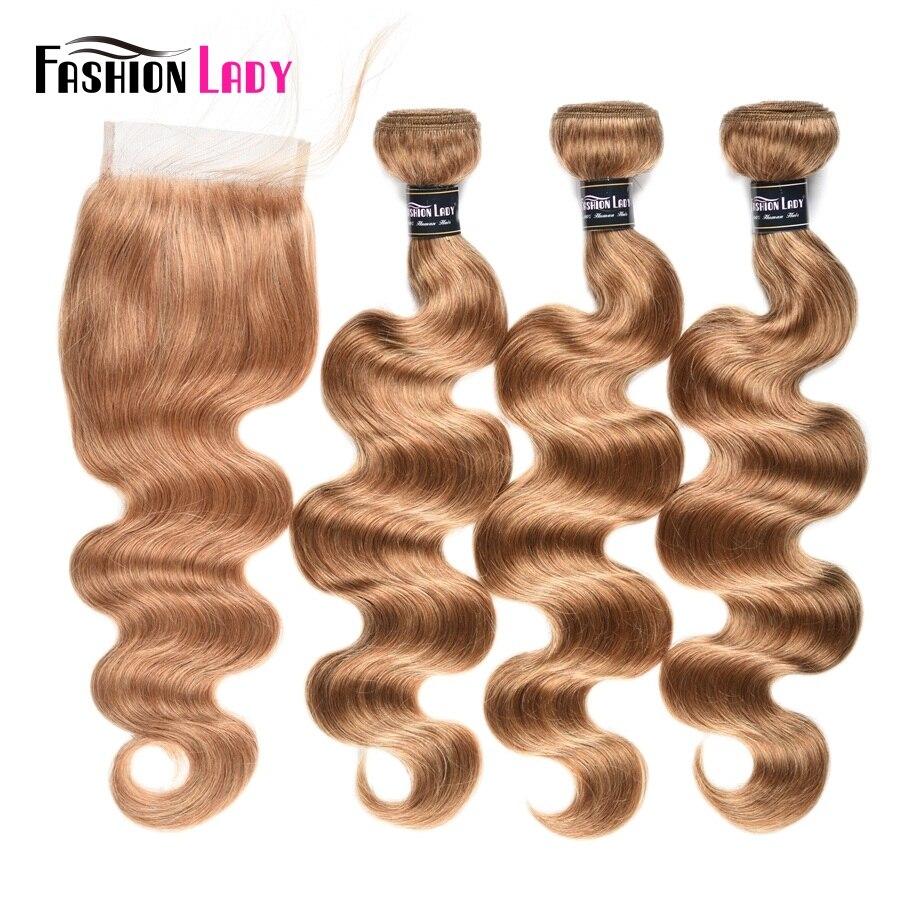 Модные женские предварительно Цветной бразильский человеческих волос на теле Wave 3 Связки #27 Блондинка ткань с бесплатной часть кружева заст...