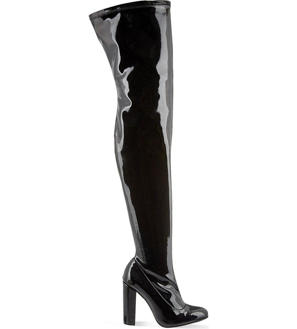 Новейшая модель; высококачественные ботфорты из лакированной кожи с круглым носком; пикантные высокие сапоги до бедра на толстом каблуке; ж