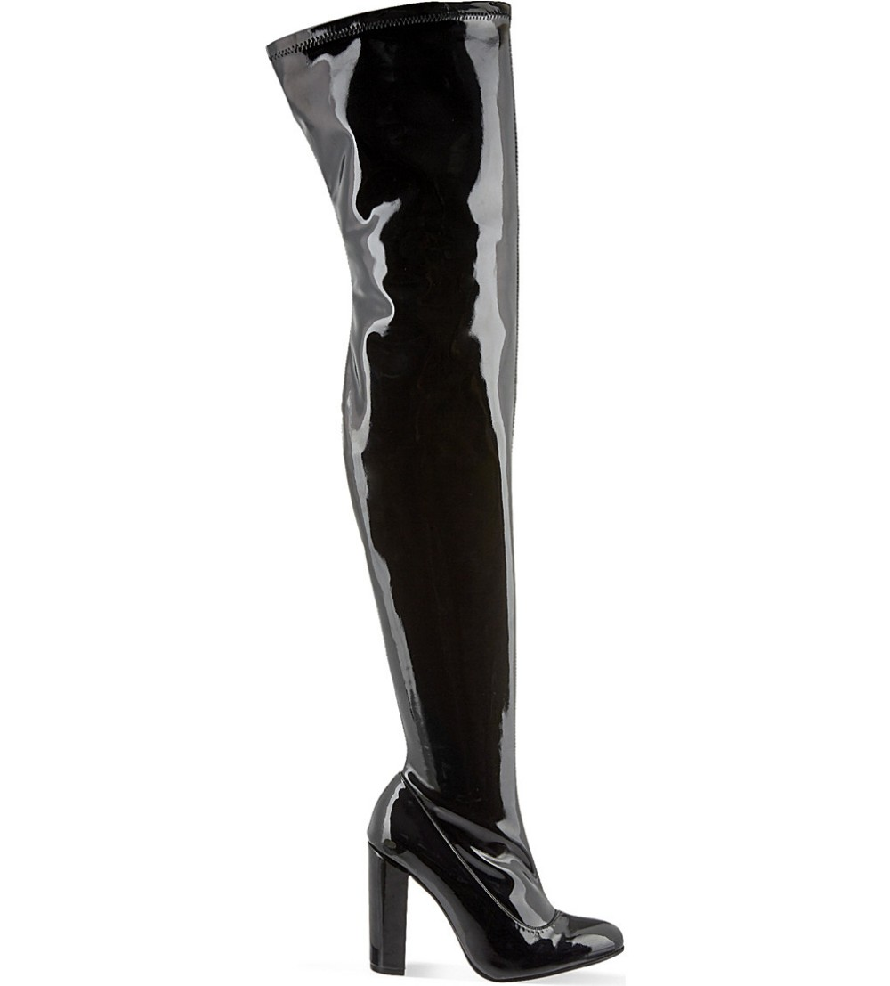 цены Newest round toe high quality patent leather over the knee boots sexy thick heels thigh high boots woman long boots winter black