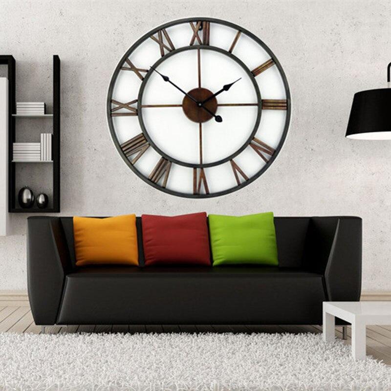 Doprava zdarma +18 palců Nadrozměrné 3D železné dekorativní nástěnné hodiny Retro velké umělecké vybavení římské číslice Design hodiny na zdi