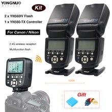 ФОТО yongnuo 1 x yn560tx lcd wireless flash controller + 2 x yn560 iv flash speedlite for nikon dslr camera