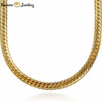 Men S 24K Gold Plated Snake Bone Curb Chain Hip Hop Solid Fashion Necklace Drop Ship