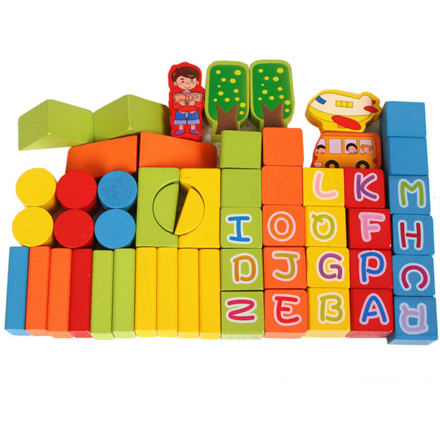 2018 NEW 53 Pieces Baby Wood Alphabet block Digital Building blocks set Children Classic Educational Teaching