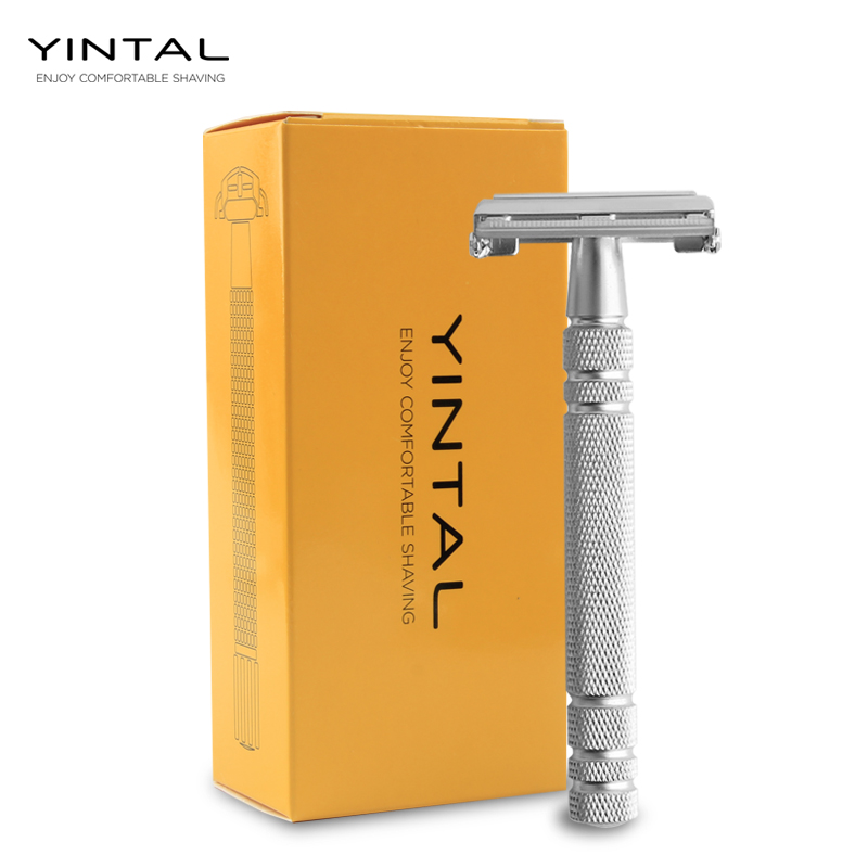 YINTAL NEW Classic Double Edge Razors Brass Butterfly Open Razor Long Handle 11.4 Cm Net Weight 90g Sliver 2 Colors